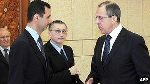 President Assad and Sergei Lavrov in Damascus. 7 Feb 2012