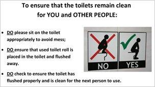 Swansea University puts up toilet instruction posters - BBC News