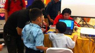 Children playing at the Angry Bird launch in Jakarta