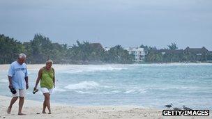 Tourists walking along Mexican beach
