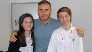 School Reporters Grace and Chris from Admiral Lord Nelson School with Gary Barlow