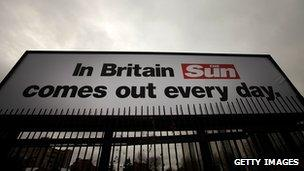 Billboards outside News International in Wapping advertise the new Sun on Sunday, which is to launch on February 24