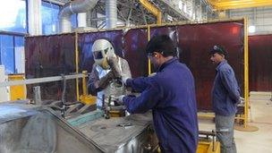 Workers at Bombardier factory