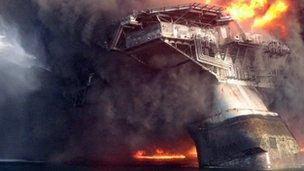 Deepwater Horizon oil rig in flames after explosion
