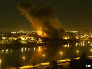 Missiles hit the Iraqi capital, Baghdad, on 20 March 2003
