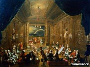 Painting of Masonic Lodge meeting, depicted with curtains being drawn back to reveal people within