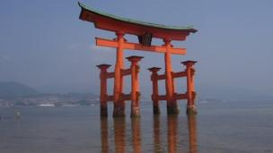 The torii (gate) of Itsukushima.