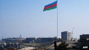 The site of the concert hall being built in Baku to host the Eurovision song contest in May, 14 January