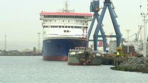 The two ships are side-by-side in Belfast Lough