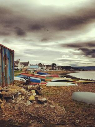 Boats on the shore of Findhorn Bay