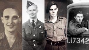 (Chwith i'r dde): Phillip Bryant, 25 oed, o Southend-on-Sea; Geoffrey Carpenter, 23 oed, o West Norwood; Oliver Goldsmith, 21 oed, o Neston; Roy Wilson, 21 oed, o Benbedw