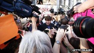 Former governor Rod Blagojevich greets supporters outside his home on 14 March 2012, Chicago, Illinois