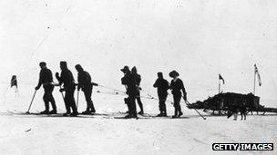 Captain Scott leads a sleigh party over the ice - Jan 1912