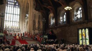 The Queen and her husband Prince Philip in Westminster Hall