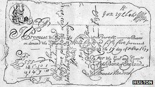 The oldest known bank-note, issued by the Bank of England in 1699