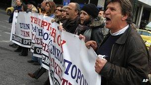 Protest in Athens. 29 Feb 2012