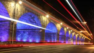 Light trails on the Kilmarnock Railway Viaduct