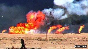 Kuwait oil wells on fire