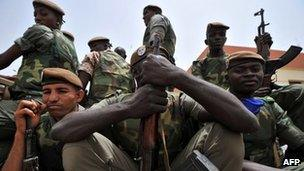 Malian soldiers in the capital, Bamako, 29 March