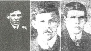Jim Reed, William Rogers and nephew Evan Davies