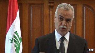 Tariq al-Hashemi speaking on TV 25 March 2012