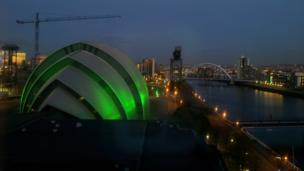 View of the SECC and River Clyde in Glasgow
