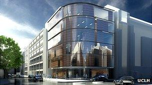 Artist's impression of the UCLH Proton Beam Therapy Centre