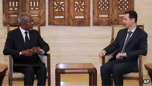 Kofi Annan and Bashar al-Assad in Damascus (10 March 2012)