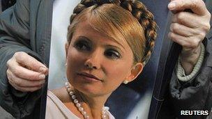 A supporter with a placard of Ukraine's former PM Yulia Tymoshenko (28 March 2012)