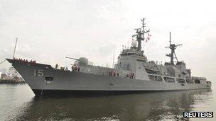 A handout photo shows a Philippines Navy warship docked at the naval headquarters in Manila 11 December, 2011