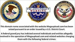 Notice on Megaupload homepage