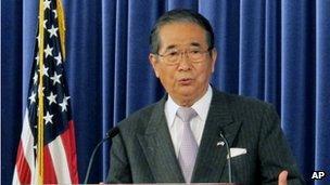 Tokyo governor Shintaro Ishihara speaking at the Heritage Foundation forum in Washington on 16 April 2012.