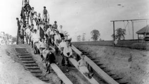 Children on the first children's slide