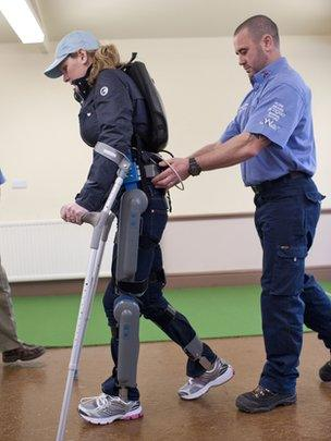 """Claire Lomas wearing the """"robot legs"""""""