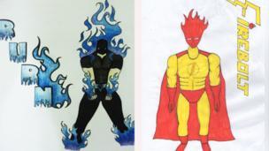 Two superheroes - Burn and Firebolt