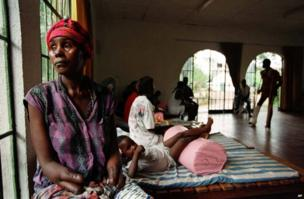 Yanor Kanu in the Laka Town Rehabilitation Center near Freetown, Sierra Leone recovering from surgery, 3 October 1998. Thousands of villagers were mutilated in a brutal campaign by rebels seeking revenge for their ousting from power