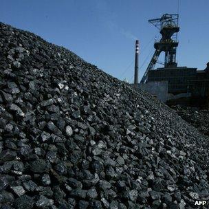 Pile of coal in a Polish mine