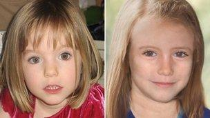Madeleine McCann when she disappeared and how she might have looked aged nine