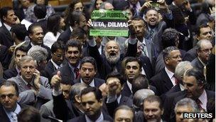 A\member of Congress protests as the Chamber of Deputies holds a plenary vote on the forest code 25 April 2012