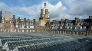 The roofs of Glasgow Central Station and Central Hotel