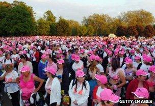 Women in bras gather for Moonwalk breast cancer fundraising walk