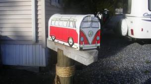 A postbox in the shape of a VW camper van