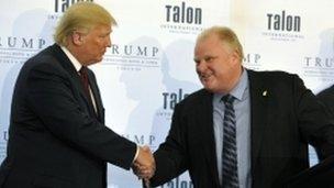 Toronto mayor Rob Ford meets Donald Trump.