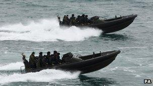 Royal Marine commandos off Weymouth and Portland on 3 May 2012