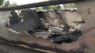 Burned boat