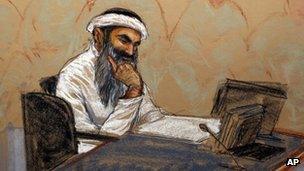 Courtroom sketch of Khalid Sheikh Mohammed