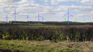 Artist impression of Derbyshire wind farm