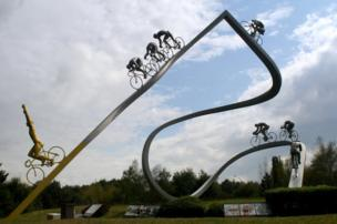 "The sculpture ""Le Tour de France dans les Pyrenees"""