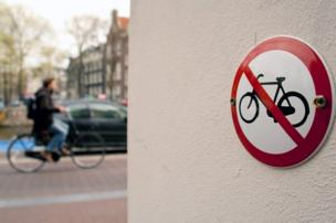 "A ""No cycling"" sign in Amsterdam"