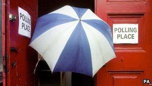 Umbrella at polling station